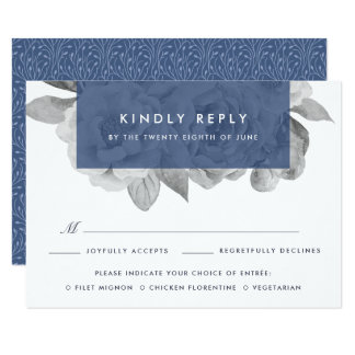 Navy Vintage Floral RSVP Card with Meal Choice