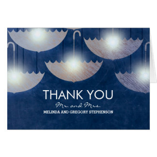 Navy Vintage Umbrella Lights Wedding Thank You Card