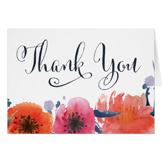 Navy Watercolor Floral Thank You Greeting Card