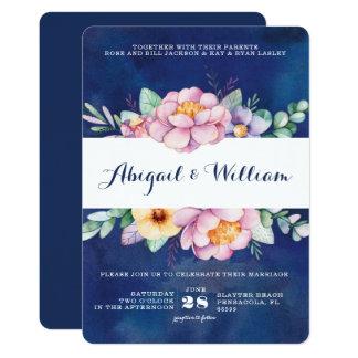 Navy Watercolor Floral Wedding Invitations