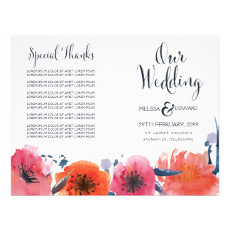 Navy Watercolor Floral Wedding Program Booklet Flyer