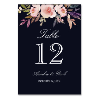 Navy Watercolor Floral Wedding Table Number Cards Table Cards