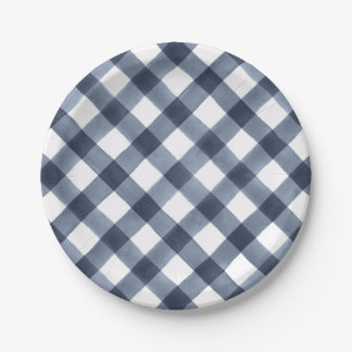 Navy Watercolor Gingham Paper Plate