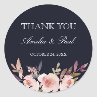 Navy Watercolor Peonies Wedding Thank You Sticker