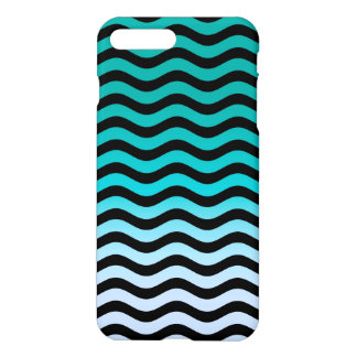 Navy Wavy Stripes Nautical Pattern iPhone 7 Plus Case