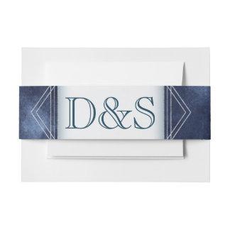 Navy Wedding | Dark Blue Geometric Watercolor | Invitation Belly Band