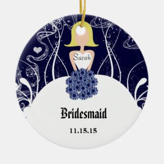 Navy Wedding Gown Bridesmaid Christmas Ornament