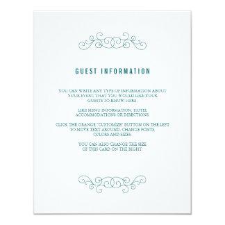 "Navy Wedding Insert Card 4.25"" X 5.5"" Invitation Card"