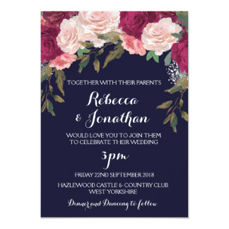 Navy wedding invitation burgundy pink floral