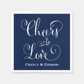 Navy Wedding Napkins | Cheers to Love Disposable Napkin