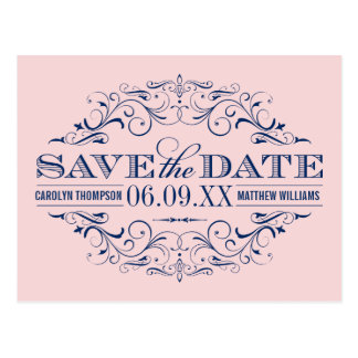 Navy Wedding Save the Date | Swirl and Flourish Postcard