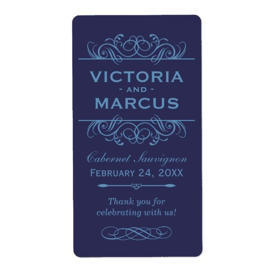 Navy Wedding Wine Bottle Monogram Favour Labels