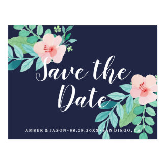 Navy Whimsical Floral Watercolor Save the Date Postcard