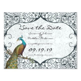 Navy Whimsical Peacock Love Bird Save the Date Card