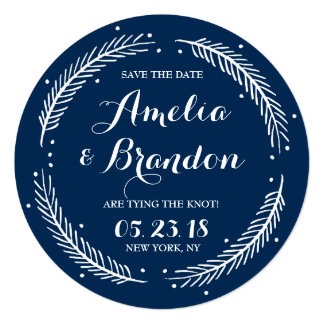 Navy Whimsical Winter Wreath Save the Date Card