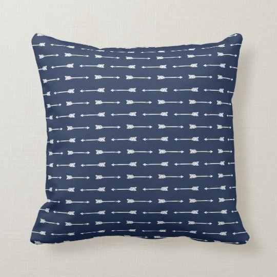 Navy & White Arrows Pattern Pillow