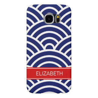Navy White Art Deco, red name monogram Samsung Galaxy S6 Cases