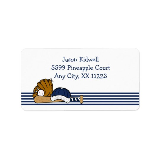 Navy White Baseball team equipment Label