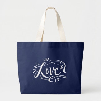 Navy & white calligraphy handwriting big jumbo large tote bag