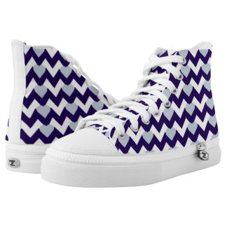 NAVY/WHITE CHEVRON GREY HEART HIGH-TOP SNEAKERS