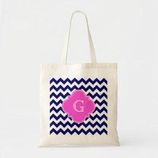 Navy White Chevron Hot Pink Quatrefoil Monogram Tote Bag