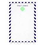 Navy White Chevron Mint Green Quatrefoil Monogram Custom Stationery