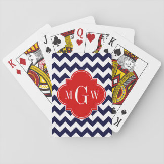 Navy White Chevron Red Quatrefoil 3 Monogram Playing Cards