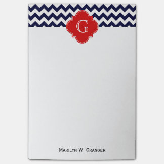 Navy White Chevron Red Quatrefoil Monogram Post-it Notes