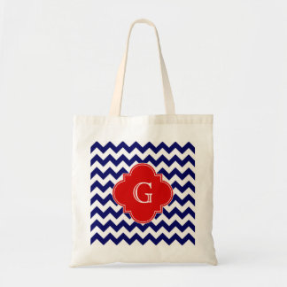 Navy White Chevron ZigZag Red Quatrefoil Monogram Tote Bag