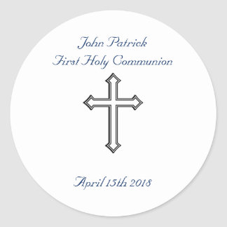 Navy & White Communion Classic Round Sticker