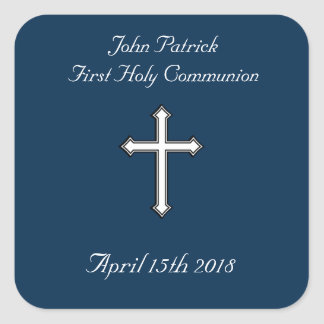 Navy & White Communion Square Sticker