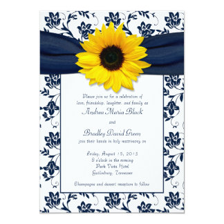 Navy White Damask Sunflower Wedding Invitation