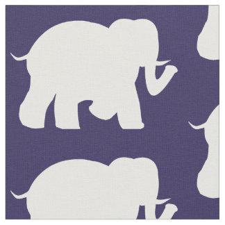 Navy & white elephants fabric
