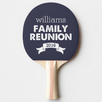 Navy & White Family Reunion Ping Pong Paddle