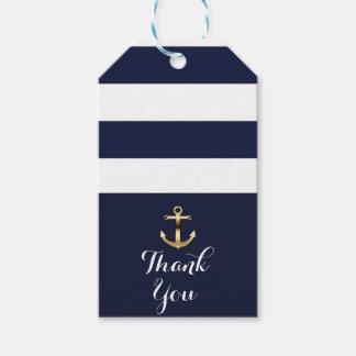 Navy White & Gold Anchor Nautical Stripes Wedding Gift Tags