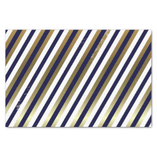 Navy, White, Gold Diagonal Stripe Tissue Paper