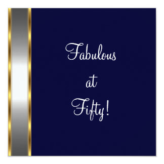 Navy White Gold Fabulous 50th Birthday Party Card
