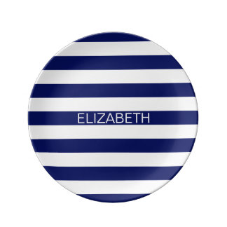 Navy White Horizontal Preppy Stripe Name Monogram Porcelain Plates