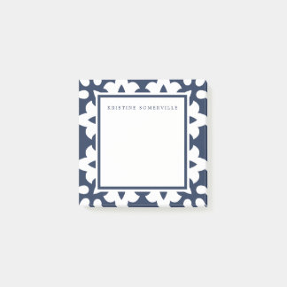 Navy & White Moroccan Border | Personalized Post-it Notes