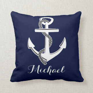 Navy & White Nautical Anchor Custom Throw Pillow