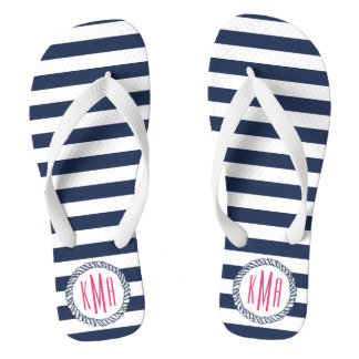 Navy & White Nautical Stripe w/ Pink Monogram Flip Flops
