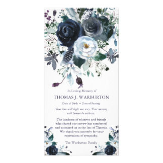 Navy & White Peonies Sympathy Thank You Card