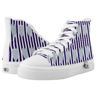NAVY/WHITE PINSTRIPE GREY HEART HIGH-TOP SNEAKERS