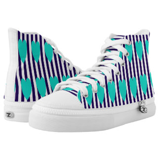 NAVY/WHITE PINSTRIPE TEAL HEART HIGH-TOP SNEAKERS