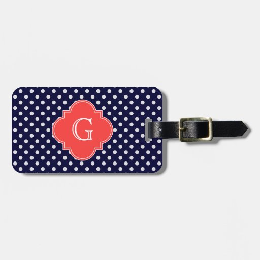 Navy White Polka Dot Coral Quatrefoil Monogram Tag For Luggage