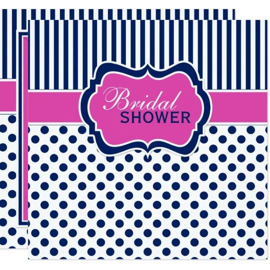Navy, White Polka Dot Stripe Bridal Shower Invite