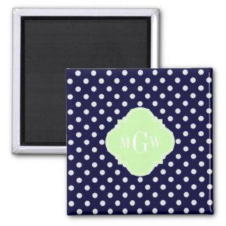 Navy White Polka Dots Celery Quatrefoil 3 Monogram Magnet