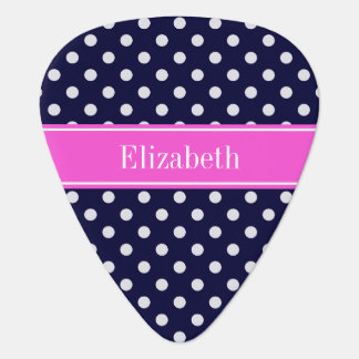 Navy White Polka Dots Hot Pink Ribbon Monogram Pick