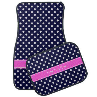 Navy White Polka Dots Hot Pink Ribbon Monogram Floor Mat