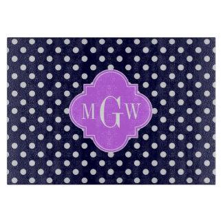 Navy White Polka Dots Lilac Quatrefoil 3 Monogram Cutting Board